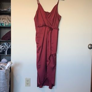 Deep red satin dress NWT